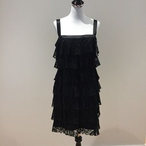Laundry By Shelli Segal Black Lace Tiered Dress